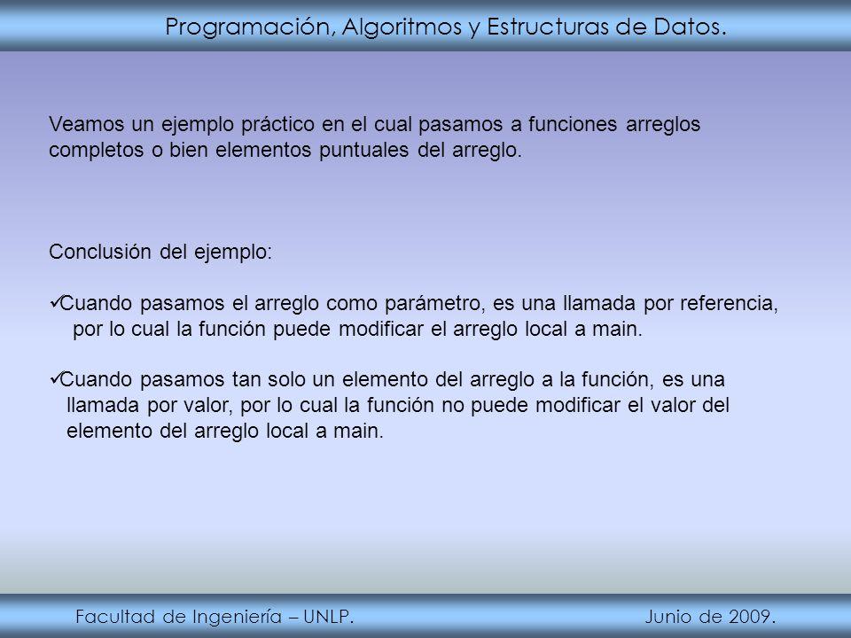 Programación, Algoritmos y Estructuras de Datos. Facultad de Ingeniería – UNLP. Junio de 2009. Veamos un ejemplo práctico en el cual pasamos a funcion