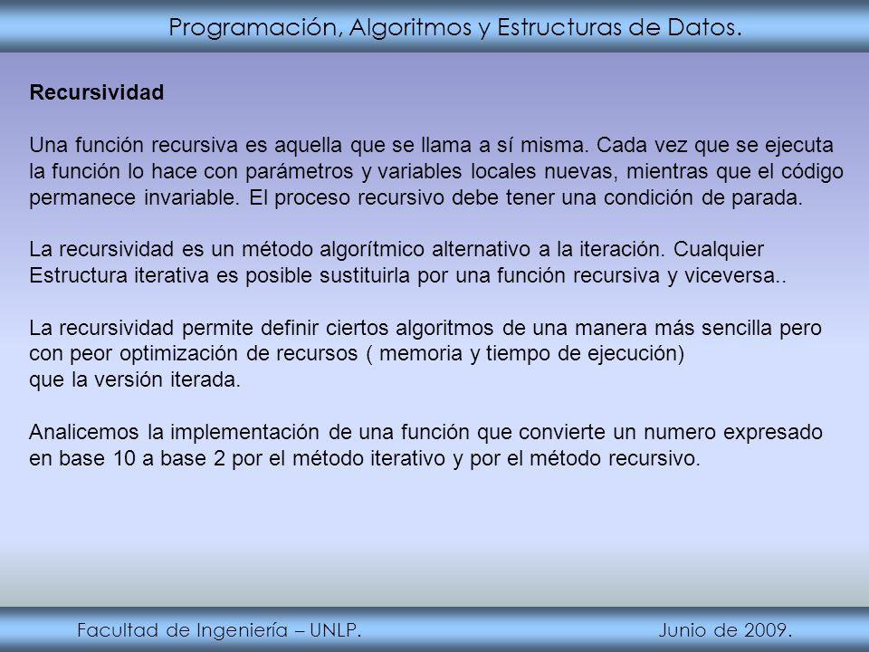 Programación, Algoritmos y Estructuras de Datos. Facultad de Ingeniería – UNLP. Junio de 2009. Recursividad Una función recursiva es aquella que se ll