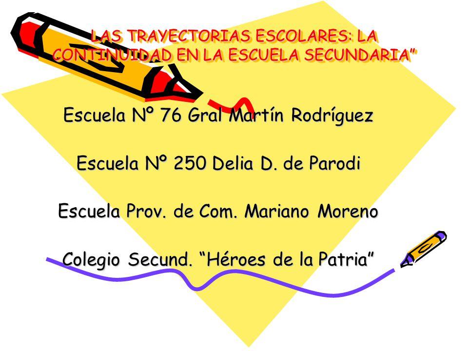 LAS TRAYECTORIAS ESCOLARES: LA CONTINUIDAD EN LA ESCUELA SECUNDARIA LAS TRAYECTORIAS ESCOLARES: LA CONTINUIDAD EN LA ESCUELA SECUNDARIA Escuela Nº 76 Gral Martín Rodríguez Escuela Nº 250 Delia D.