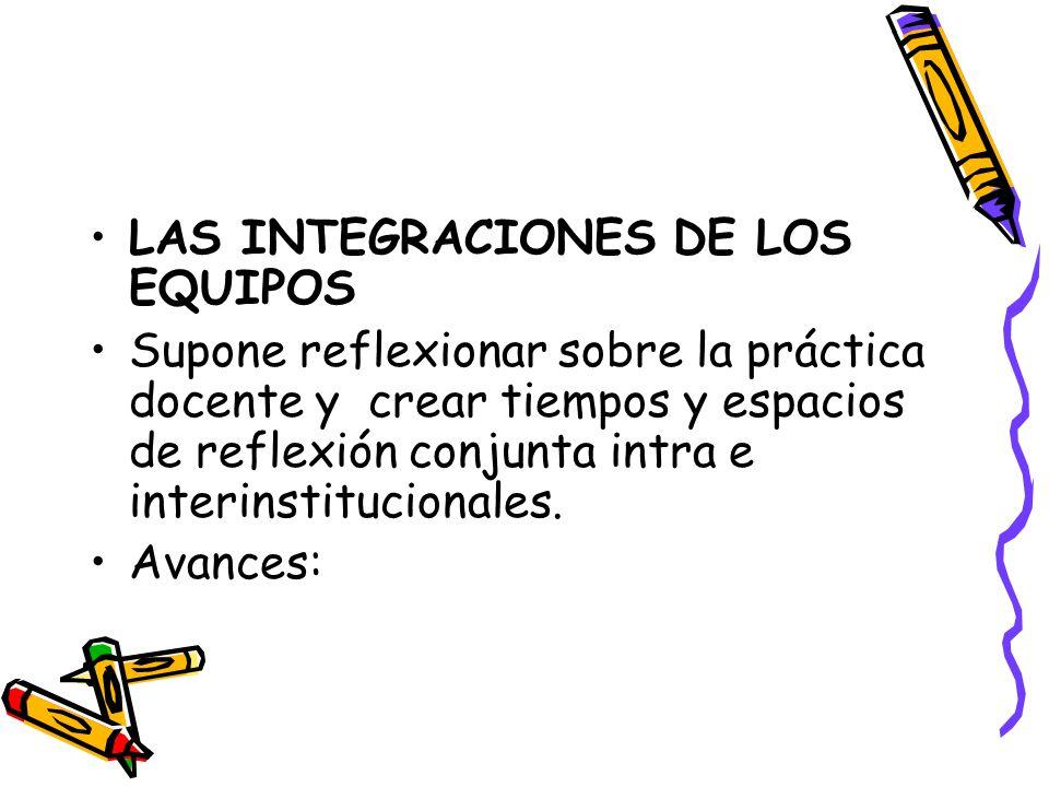 LAS INTEGRACIONES DE LOS EQUIPOS Supone reflexionar sobre la práctica docente y crear tiempos y espacios de reflexión conjunta intra e interinstitucio