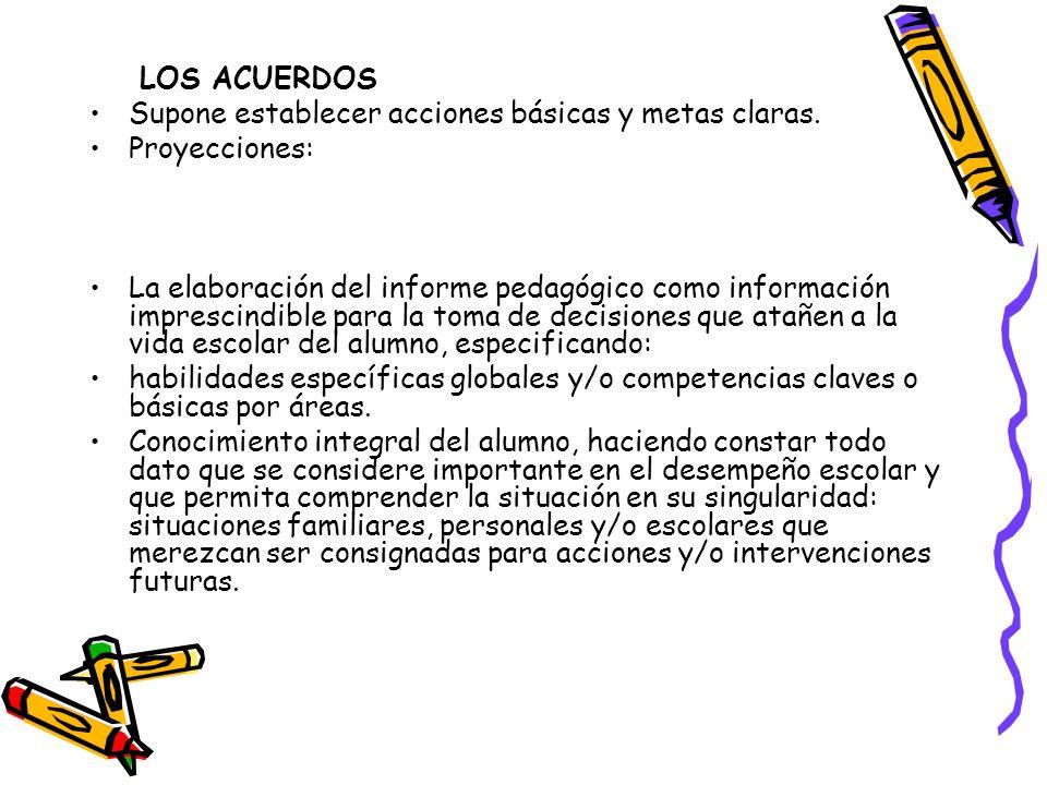 LOS ACUERDOS Supone establecer acciones básicas y metas claras. Proyecciones: La elaboración del informe pedagógico como información imprescindible pa