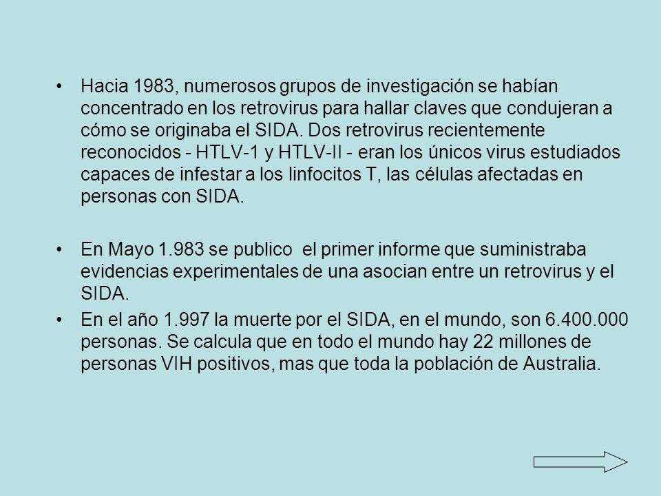 Hacia 1983, numerosos grupos de investigación se habían concentrado en los retrovirus para hallar claves que condujeran a cómo se originaba el SIDA.