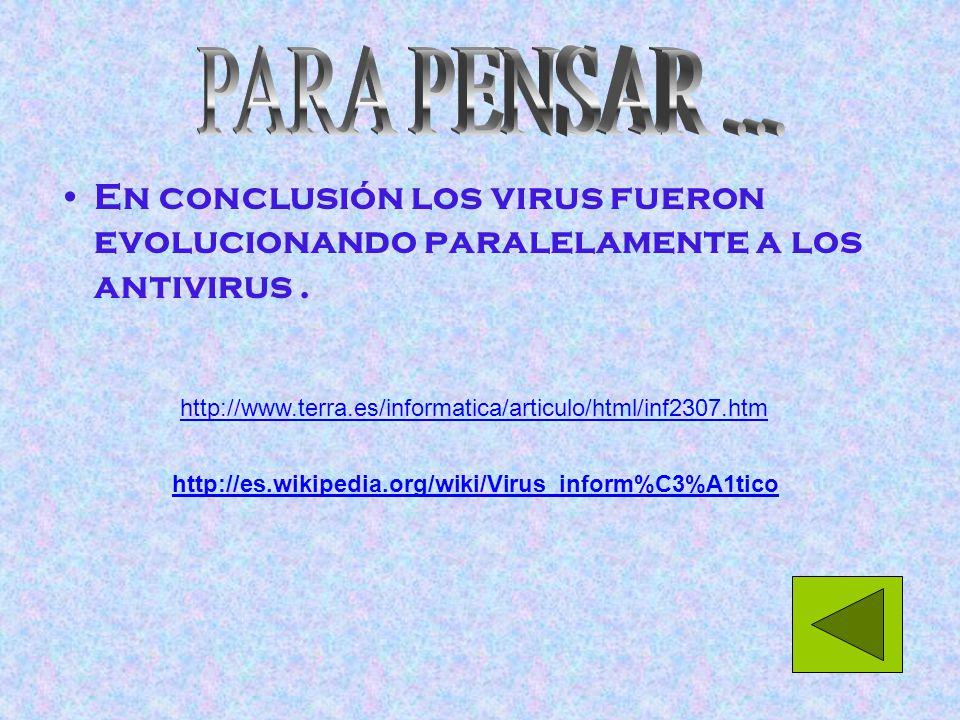 En conclusión los virus fueron evolucionando paralelamente a los antivirus.