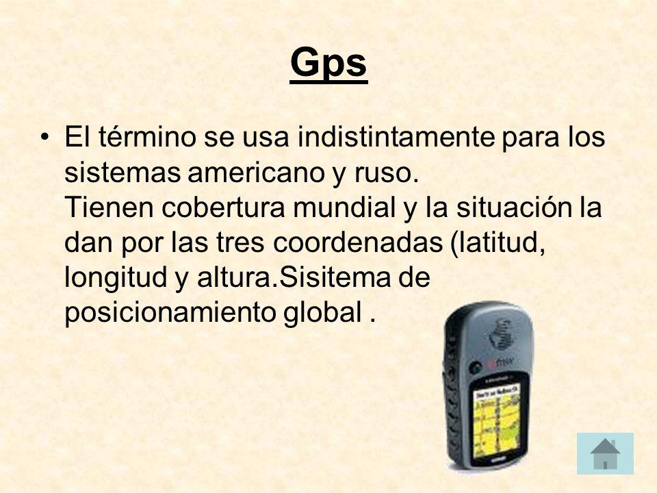 Gps El término se usa indistintamente para los sistemas americano y ruso.