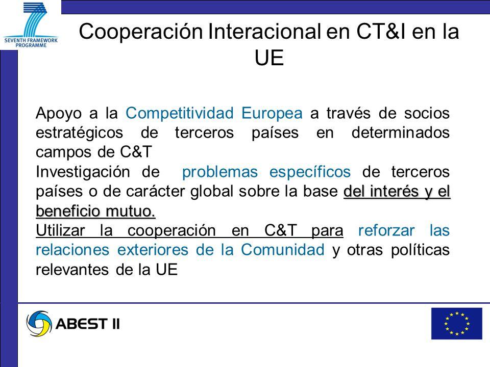 Apoyo a la Competitividad Europea a través de socios estratégicos de terceros países en determinados campos de C&T del interés y el beneficio mutuo.