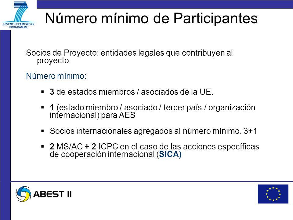 Número mínimo de Participantes Socios de Proyecto: entidades legales que contribuyen al proyecto.