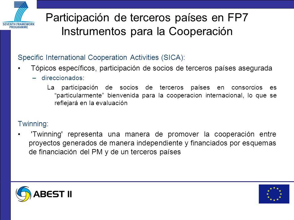 Participación de terceros países en FP7 Instrumentos para la Cooperación Specific International Cooperation Activities (SICA): Tópicos específicos, participación de socios de terceros países asegurada –direccionados: La participación de socios de terceros países en consorcios es particularmente bienvenida para la cooperacion internacional, lo que se reflejará en la evaluación Twinning: Twinning representa una manera de promover la cooperación entre proyectos generados de manera independiente y financiados por esquemas de financiación del PM y de un terceros países