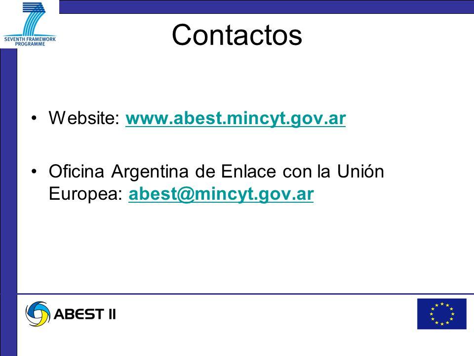 Contactos Website: www.abest.mincyt.gov.arwww.abest.mincyt.gov.ar Oficina Argentina de Enlace con la Unión Europea: abest@mincyt.gov.arabest@mincyt.gov.ar