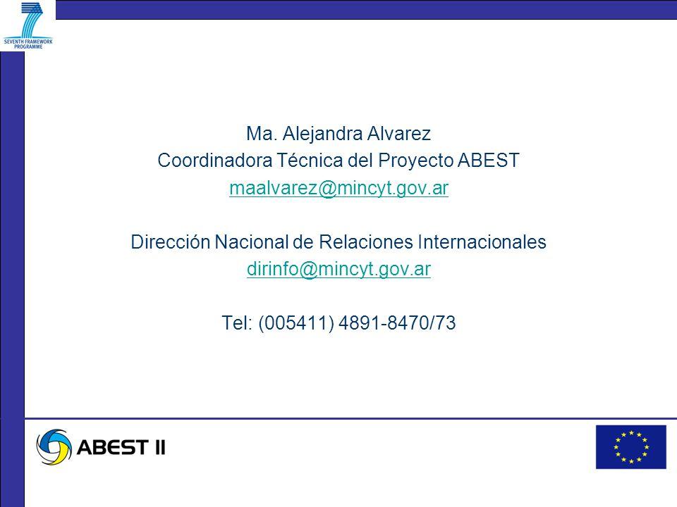 Ma. Alejandra Alvarez Coordinadora Técnica del Proyecto ABEST maalvarez@mincyt.gov.ar Dirección Nacional de Relaciones Internacionales dirinfo@mincyt.