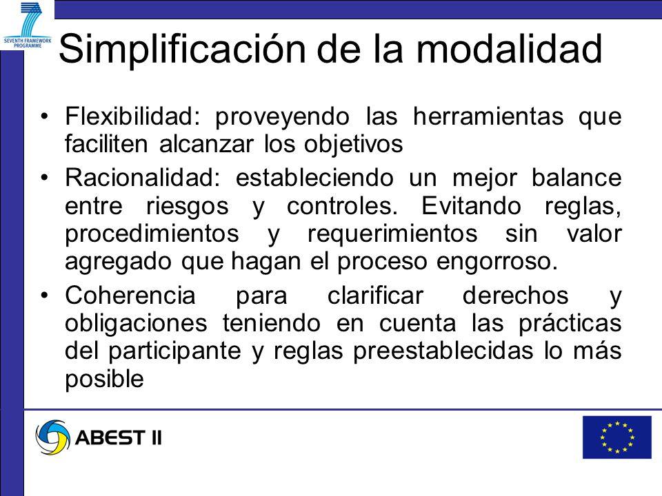 Simplificación de la modalidad Flexibilidad: proveyendo las herramientas que faciliten alcanzar los objetivos Racionalidad: estableciendo un mejor balance entre riesgos y controles.