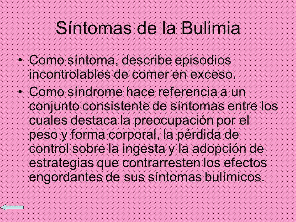 Síntomas de la bulimia 1 Episodios recurrentes de atracones de comida. 2 perdida del autodominio durante los atracones de comida. 3 El uso regular de