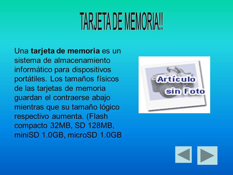 Una tarjeta de memoria es un sistema de almacenamiento informático para dispositivos portátiles.