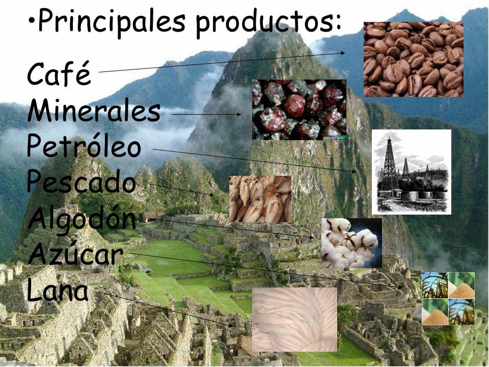 Principales productos: Café Minerales Petróleo Pescado Algodón Azúcar Lana