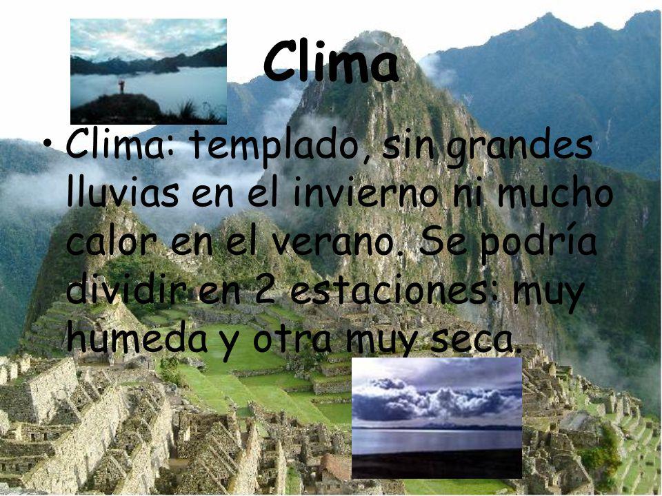Clima Clima: templado, sin grandes lluvias en el invierno ni mucho calor en el verano. Se podría dividir en 2 estaciones: muy humeda y otra muy seca.