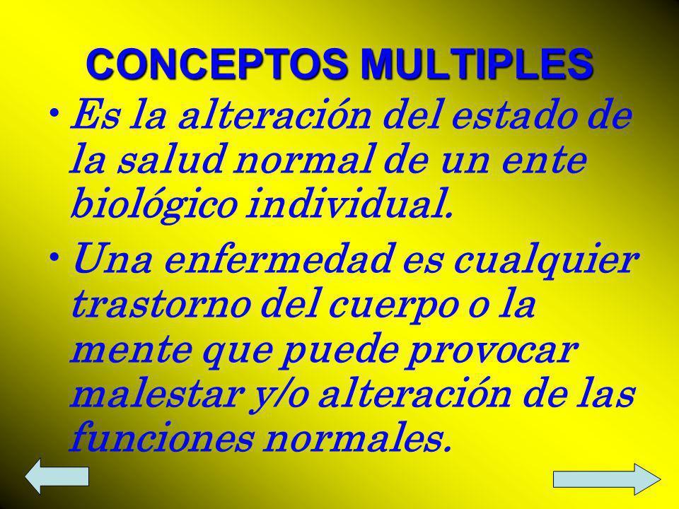 CONCEPTOS MULTIPLES Es la alteración del estado de la salud normal de un ente biológico individual.
