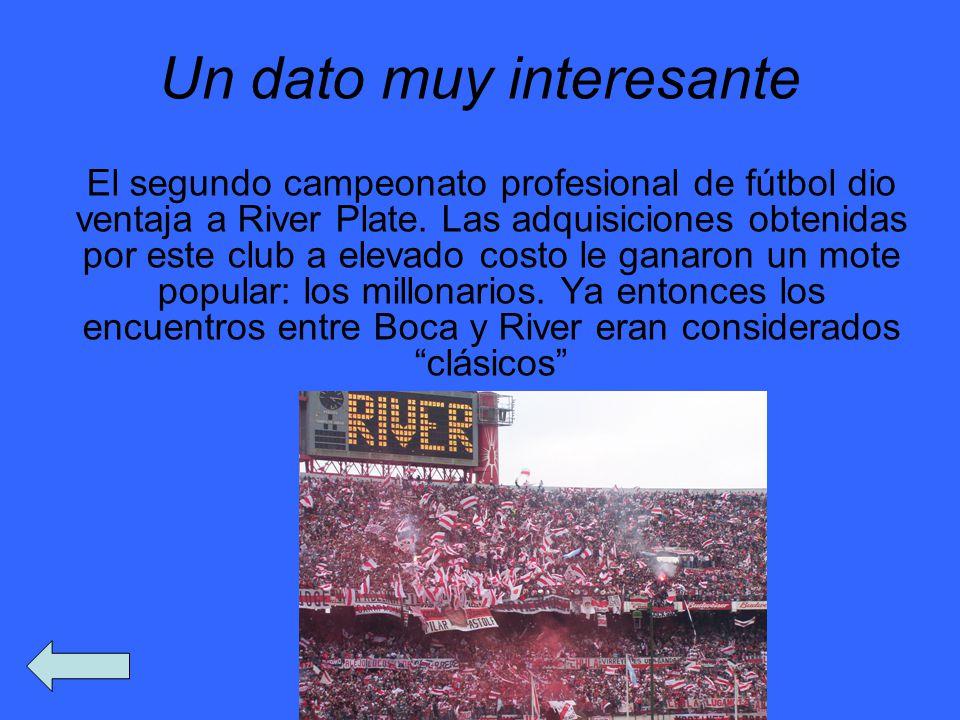 Un dato muy interesante El segundo campeonato profesional de fútbol dio ventaja a River Plate. Las adquisiciones obtenidas por este club a elevado cos