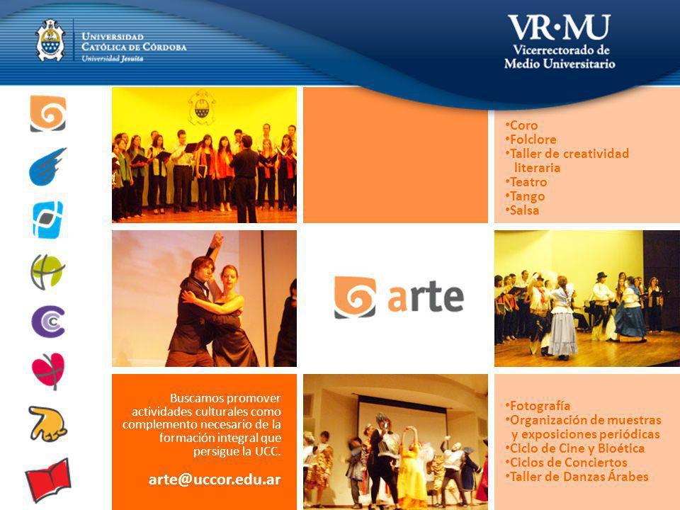 Buscamos promover actividades culturales como complemento necesario de la formación integral que persigue la UCC.