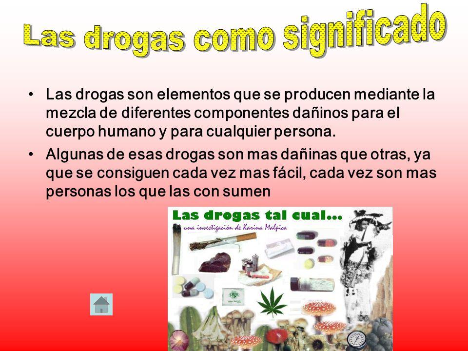 Las drogas son elementos que se producen mediante la mezcla de diferentes componentes dañinos para el cuerpo humano y para cualquier persona.