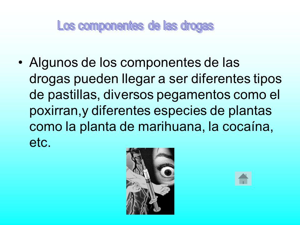 Algunos de los componentes de las drogas pueden llegar a ser diferentes tipos de pastillas, diversos pegamentos como el poxirran,y diferentes especies de plantas como la planta de marihuana, la cocaína, etc.