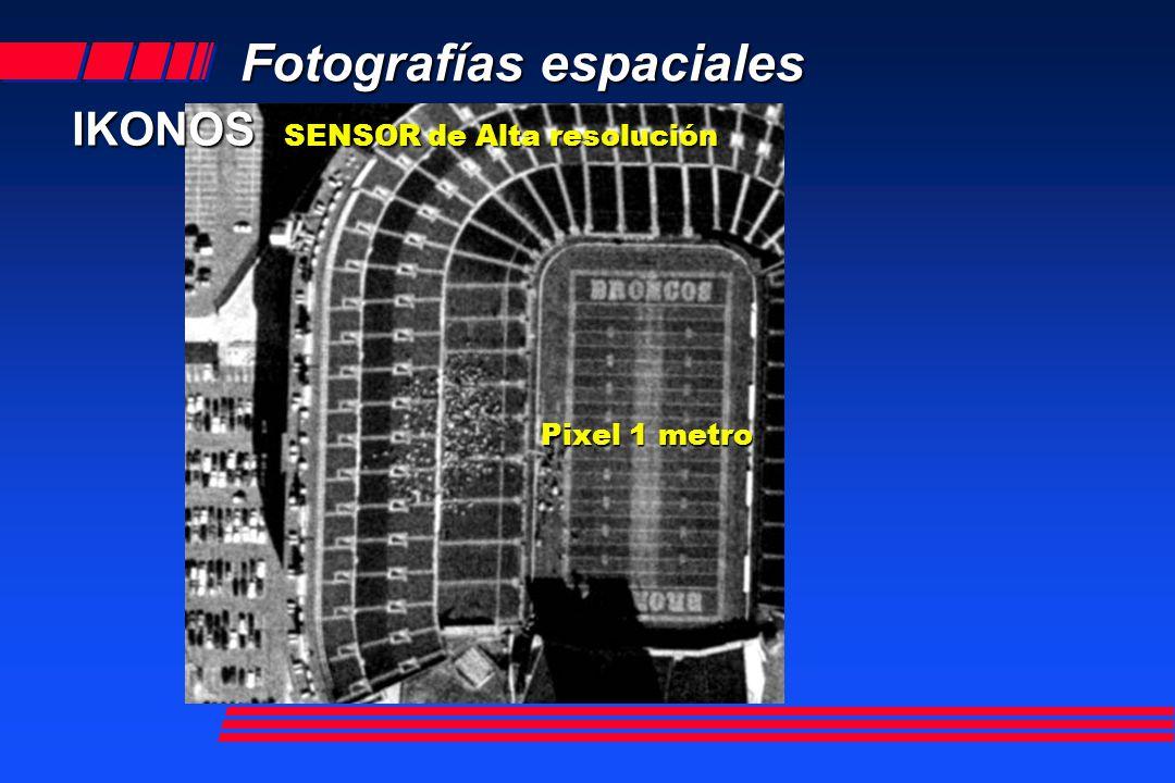 Fotografías espaciales IKONOS SENSOR de Alta resolución Space Imaging y Lockheed Martin Astronautics Space Imaging y Lockheed Martin Astronautics Abril 27, 1999 Abril 27, 1999 IKONOS 2, gemelo IKONOS 2, gemelo Escena 11 Km.