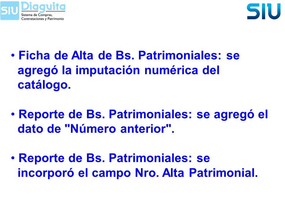 Ficha de Alta de Bs. Patrimoniales: se agregó la imputación numérica del catálogo. Reporte de Bs. Patrimoniales: se agregó el dato de