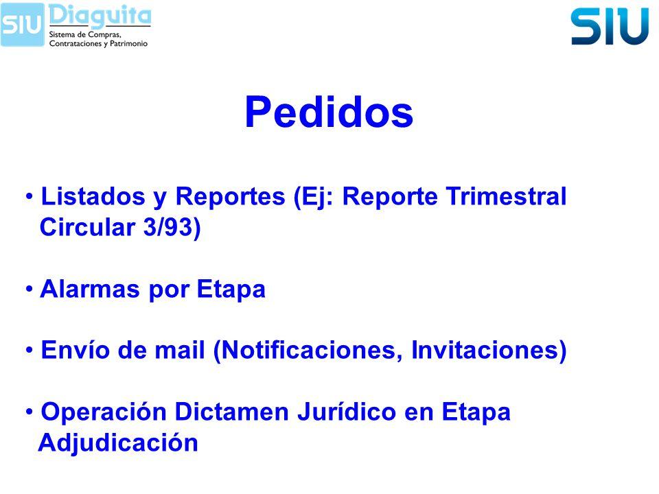 Pedidos Listados y Reportes (Ej: Reporte Trimestral Circular 3/93) Alarmas por Etapa Envío de mail (Notificaciones, Invitaciones) Operación Dictamen J