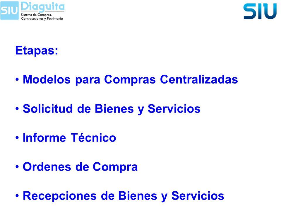 Etapas: Modelos para Compras Centralizadas Solicitud de Bienes y Servicios Informe Técnico Ordenes de Compra Recepciones de Bienes y Servicios