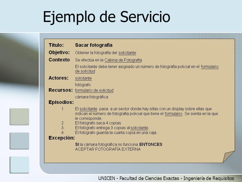 UNICEN - Facultad de Ciencias Exactas - Ingeniería de Requisitos Ejemplo de Servicio