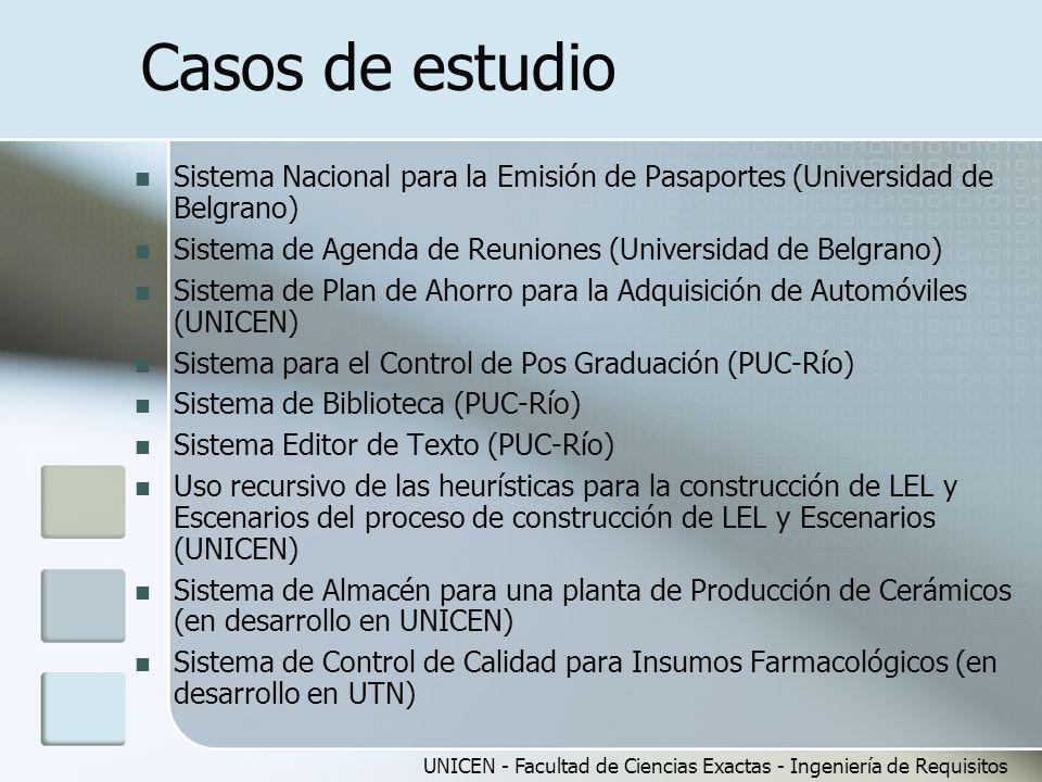 UNICEN - Facultad de Ciencias Exactas - Ingeniería de Requisitos Casos de estudio Sistema Nacional para la Emisión de Pasaportes (Universidad de Belgrano) Sistema de Agenda de Reuniones (Universidad de Belgrano) Sistema de Plan de Ahorro para la Adquisición de Automóviles (UNICEN) Sistema para el Control de Pos Graduación (PUC-Río) Sistema de Biblioteca (PUC-Río) Sistema Editor de Texto (PUC-Río) Uso recursivo de las heurísticas para la construcción de LEL y Escenarios del proceso de construcción de LEL y Escenarios (UNICEN) Sistema de Almacén para una planta de Producción de Cerámicos (en desarrollo en UNICEN) Sistema de Control de Calidad para Insumos Farmacológicos (en desarrollo en UTN)