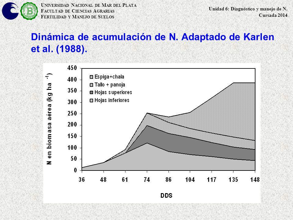 U NIVERSIDAD N ACIONAL DE M AR DEL P LATA F ACULTAD DE C IENCIAS A GRARIAS F ERTILIDAD Y M ANEJO DE S UELOS Dinámica de la acumulación de N en un cultivo de trigo bajo SD.