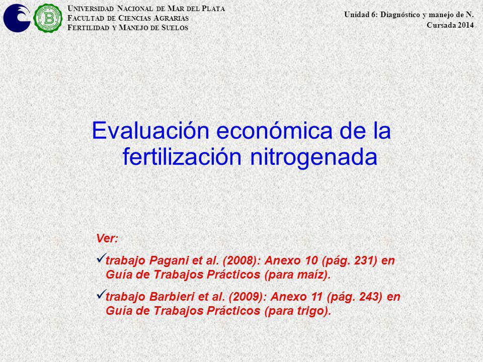 Evaluación económica de la fertilización nitrogenada U NIVERSIDAD N ACIONAL DE M AR DEL P LATA F ACULTAD DE C IENCIAS A GRARIAS F ERTILIDAD Y M ANEJO