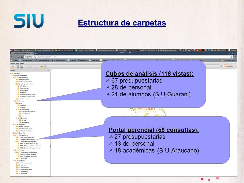 Estructura de carpetas Cubos de análisis (116 vistas): 67 presupuestarias 28 de personal 21 de alumnos (SIU-Guarani) Portal gerencial (58 consultas):