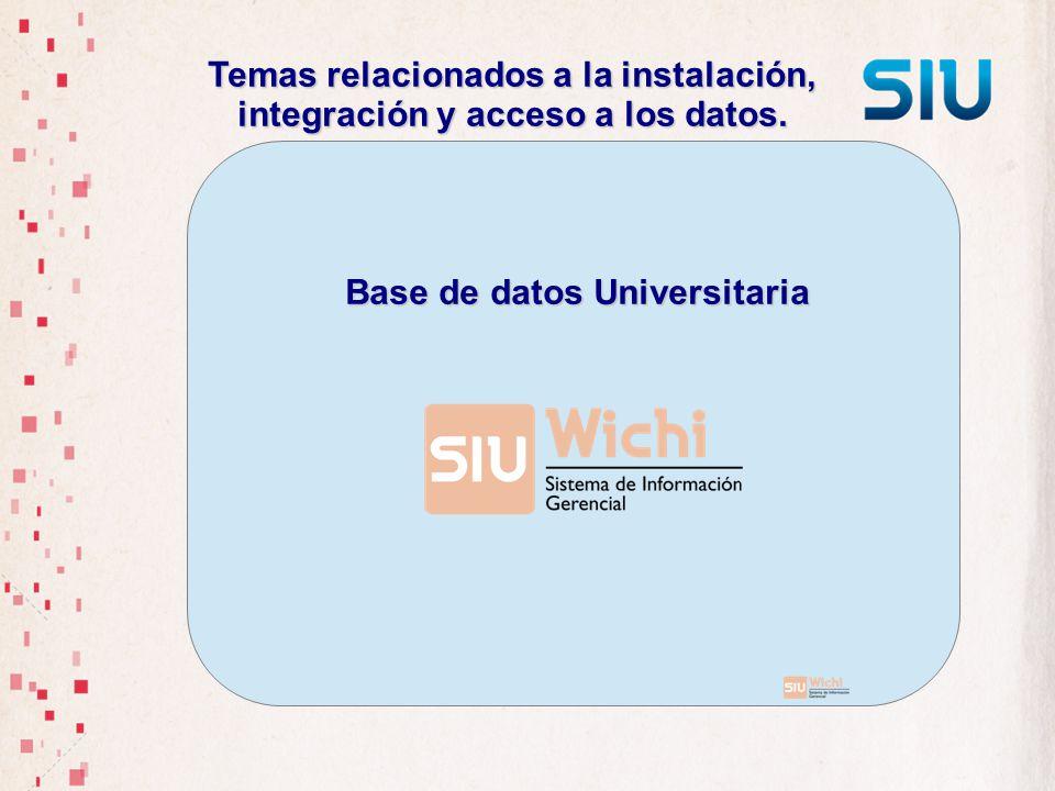 Temas relacionados a la instalación, integración y acceso a los datos. Base de datos Universitaria