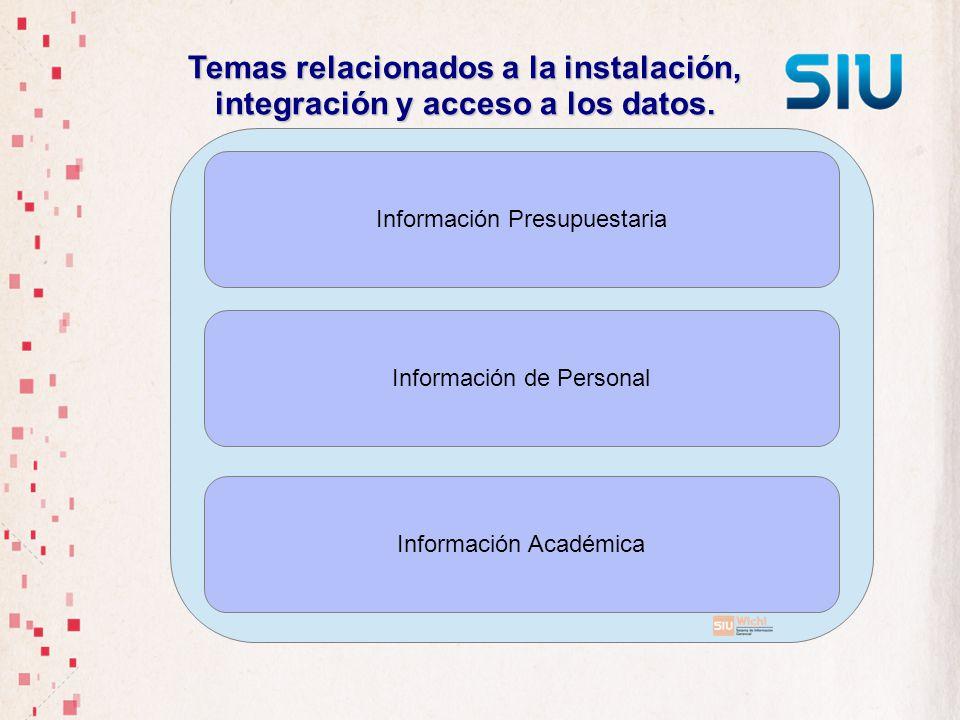 Temas relacionados a la instalación, integración y acceso a los datos. Información Presupuestaria Información de Personal Información Académica