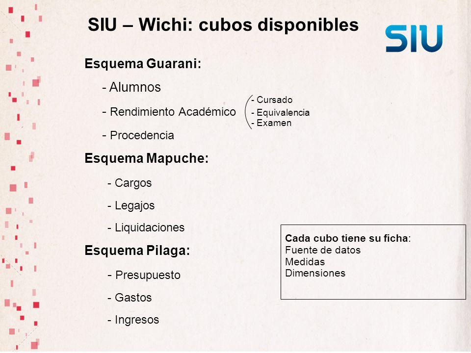 SIU – Wichi: cubos disponibles Esquema Guarani: - Alumnos - Rendimiento Académico - Procedencia Esquema Mapuche: - Cargos - Legajos - Liquidaciones Es