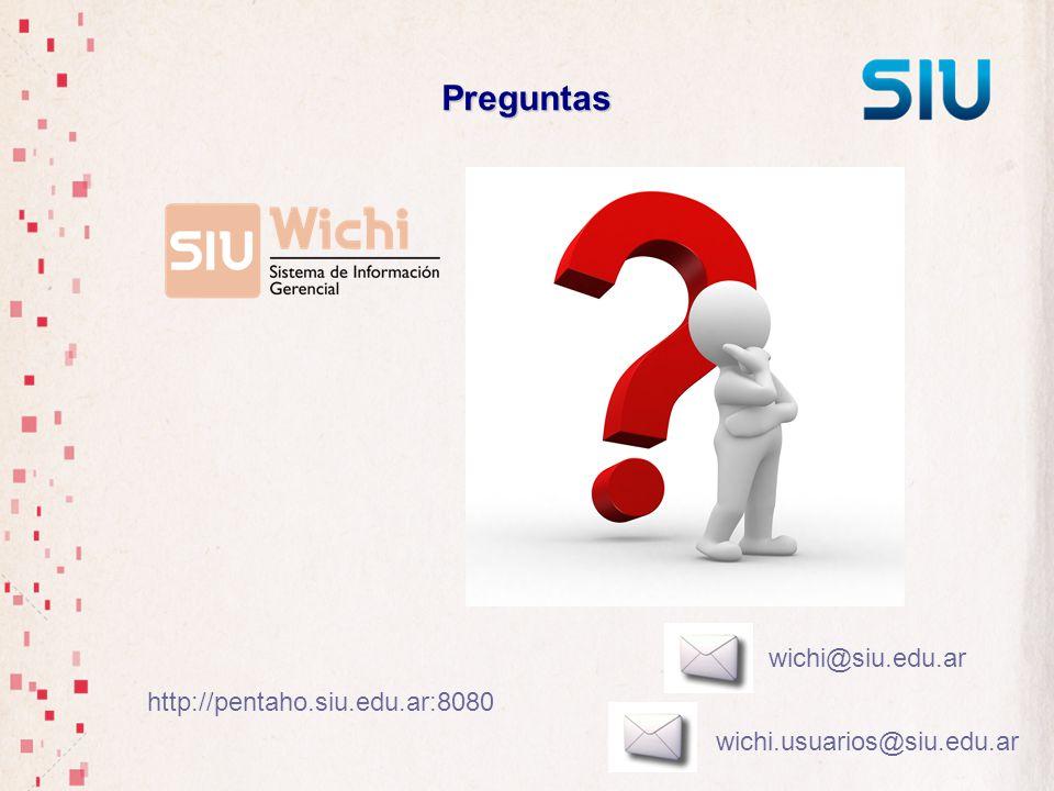 Preguntas wichi@siu.edu.ar wichi.usuarios@siu.edu.ar http://pentaho.siu.edu.ar:8080