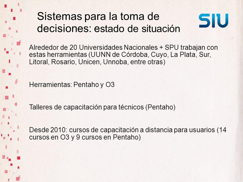 Sistemas para la toma de decisiones: e stado de situación Alrededor de 20 Universidades Nacionales + SPU trabajan con estas herramientas (UUNN de Córd