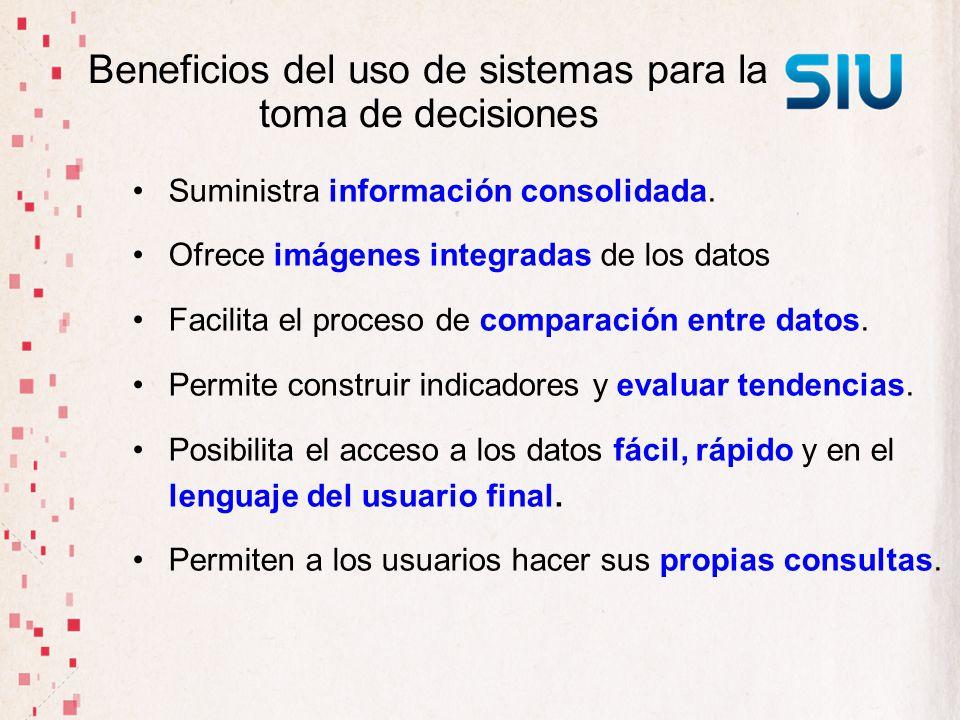 Beneficios del uso de sistemas para la toma de decisiones Suministra información consolidada. Ofrece imágenes integradas de los datos Facilita el proc