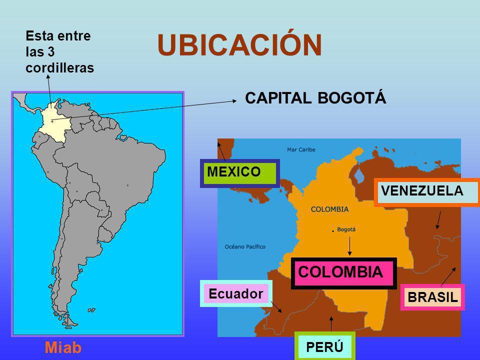 UBICACIÓN CAPITAL BOGOTÁ MEXICO Ecuador PERÚ BRASIL VENEZUELA COLOMBIA Esta entre las 3 cordilleras Miab