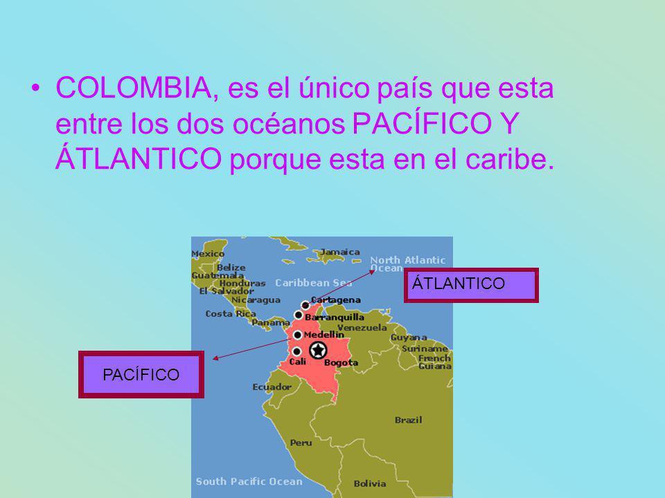 COLOMBIA, es el único país que esta entre los dos océanos PACÍFICO Y ÁTLANTICO porque esta en el caribe.