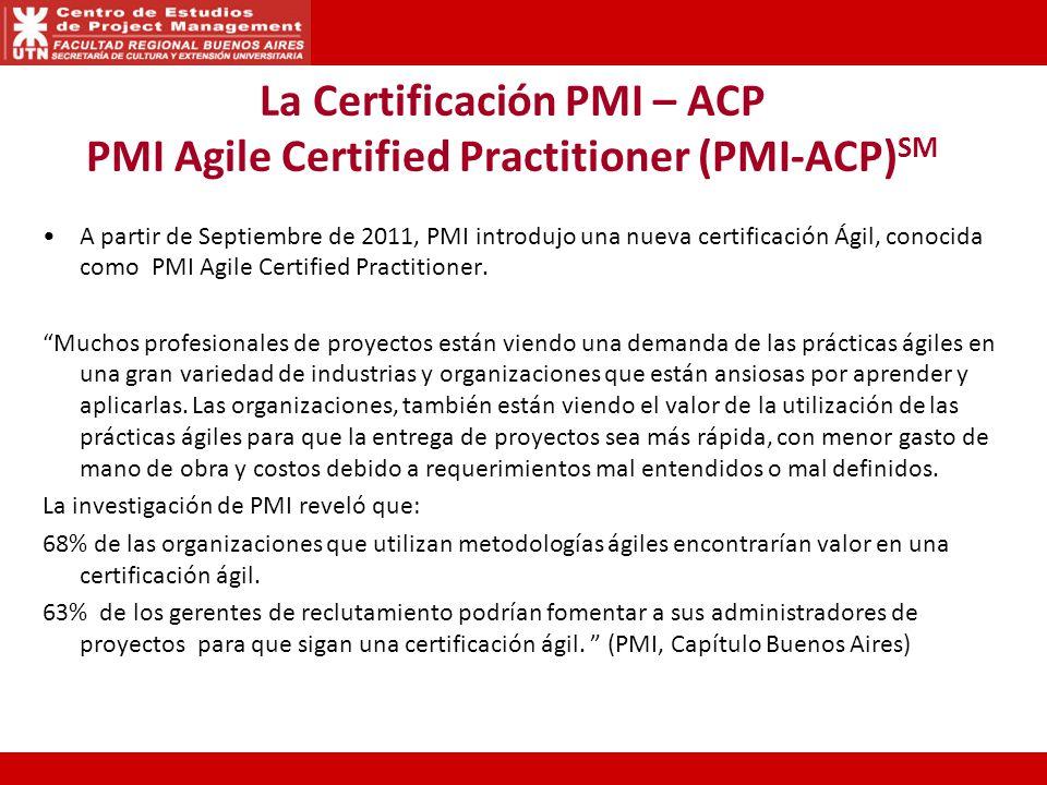 La Certificación PMI – ACP PMI Agile Certified Practitioner (PMI-ACP) SM A partir de Septiembre de 2011, PMI introdujo una nueva certificación Ágil, conocida como PMI Agile Certified Practitioner.