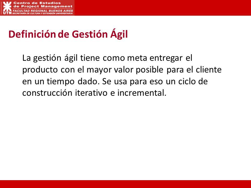La gestión ágil tiene como meta entregar el producto con el mayor valor posible para el cliente en un tiempo dado. Se usa para eso un ciclo de constru