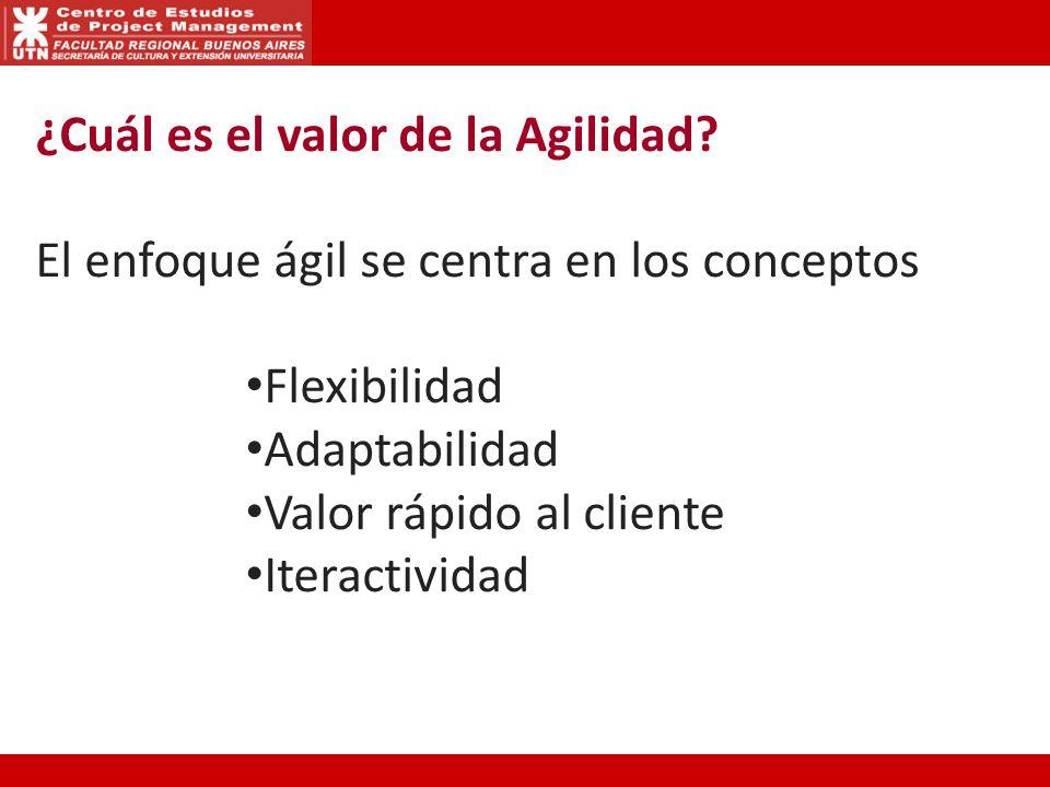 ¿Cuál es el valor de la Agilidad? El enfoque ágil se centra en los conceptos Flexibilidad Adaptabilidad Valor rápido al cliente Iteractividad