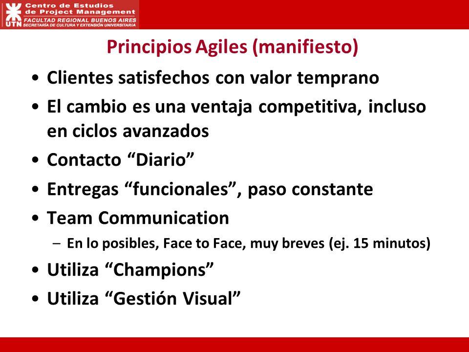 Principios Agiles (manifiesto) Clientes satisfechos con valor temprano El cambio es una ventaja competitiva, incluso en ciclos avanzados Contacto Diar
