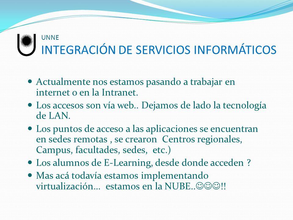 UNNE INTEGRACIÓN DE SERVICIOS INFORMÁTICOS Actualmente nos estamos pasando a trabajar en internet o en la Intranet. Los accesos son vía web.. Dejamos