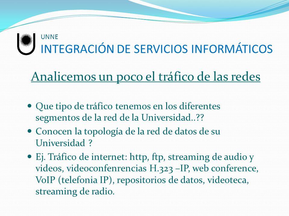 UNNE INTEGRACIÓN DE SERVICIOS INFORMÁTICOS Analicemos un poco el tráfico de las redes Que tipo de tráfico tenemos en los diferentes segmentos de la re