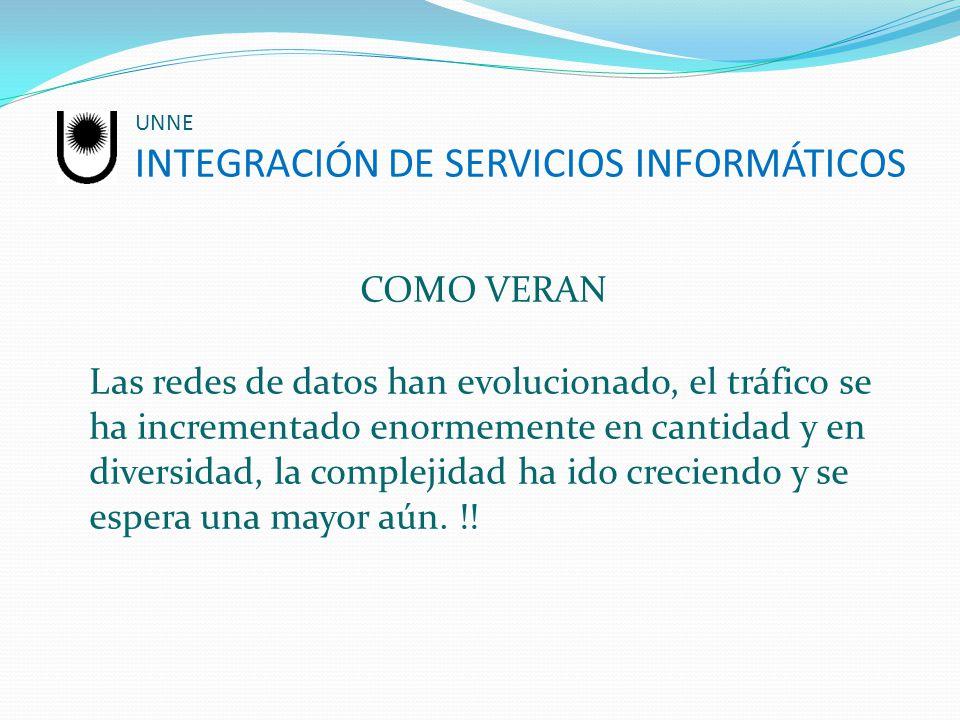 UNNE INTEGRACIÓN DE SERVICIOS INFORMÁTICOS COMO VERAN Las redes de datos han evolucionado, el tráfico se ha incrementado enormemente en cantidad y en