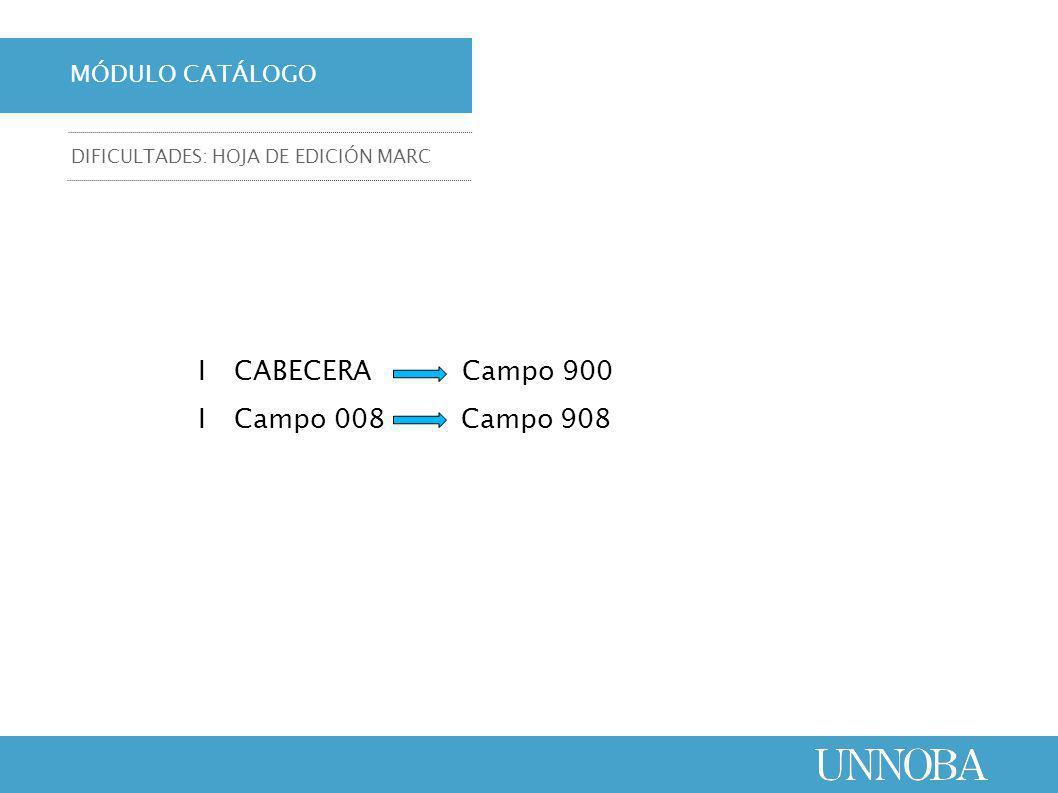 ΙCABECERA Campo 900 ΙCampo 008 Campo 908 MÓDULO CATÁLOGO DIFICULTADES: HOJA DE EDICIÓN MARC