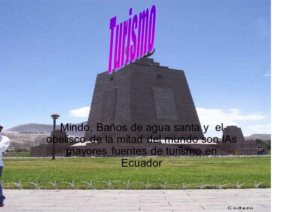 Mindo, Baños de agua santa y el obelisco de la mitad del mundo son lAs mayores fuentes de turismo en Ecuador
