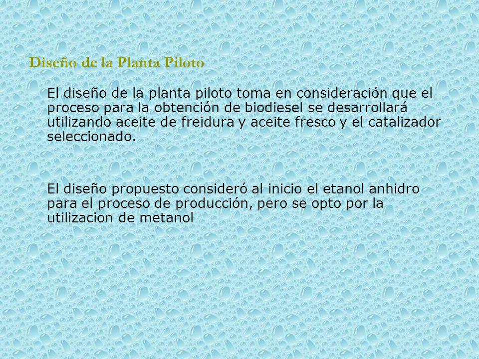 Diseño de la Planta Piloto El diseño de la planta piloto toma en consideración que el proceso para la obtención de biodiesel se desarrollará utilizando aceite de freidura y aceite fresco y el catalizador seleccionado.